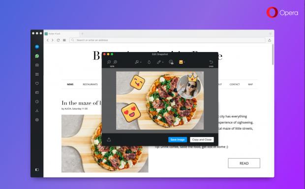 ВOpera 49 появилась функция редактирования скриншотов прямо вбраузере